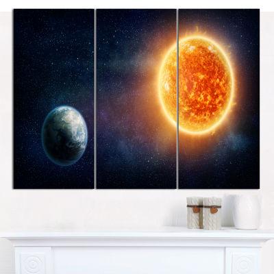 Designart Planet Earth And Sun Landscape Canvas Art Print - 3 Panels