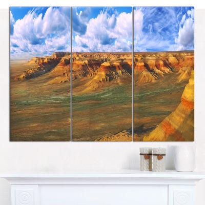 Designart Plateau Ustyurt Panorama Landscape Canvas Art Print - 3 Panels
