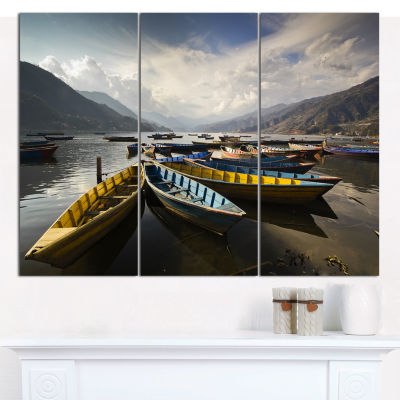 Designart Pokhara Lakeside Boats Boat Canvas Art Print - 3 Panels