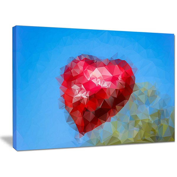 Designart Polygonal Heart Against Blue Sky Abstract Canvas Art Print