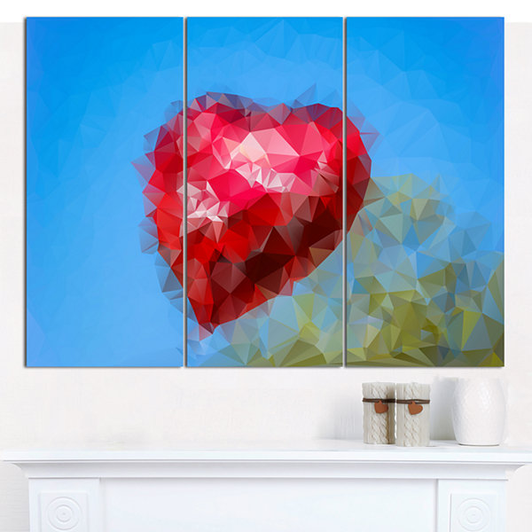 Designart Polygonal Heart Against Blue Sky Abstract Canvas Art Print - 3 Panels