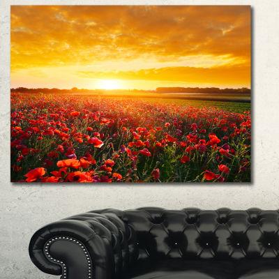 Designart Poppy Field Under Ablaze Sunset AbstractWall Art Canvas