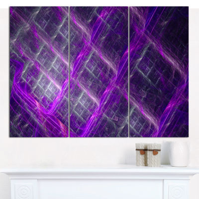 Designart Purple Abstract Metal Grill Abstract ArtOn Canvas - 3 Panels