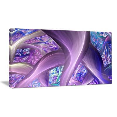 Designart Purple Blue Fractal Curves Abstract Canvas Art Print