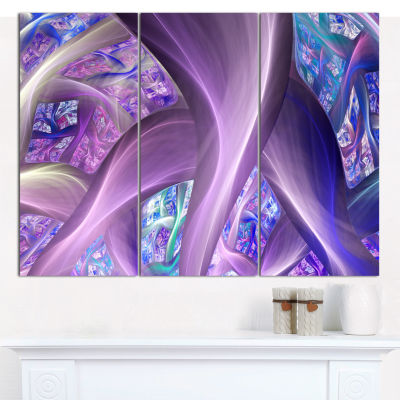 Designart Purple Blue Fractal Curves Abstract Canvas Art Print - 3 Panels