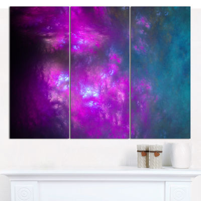 Designart Purple Blue Starry Fractal Sky AbstractCanvas Art Print - 3 Panels