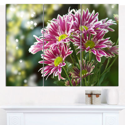 Designart Purple Chrysanthemum Flower Floral Canvas Art Print - 3 Panels