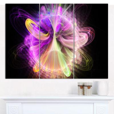 Designart Purple Circle With Amazing Curves FloralCanvas Art Print - 3 Panels