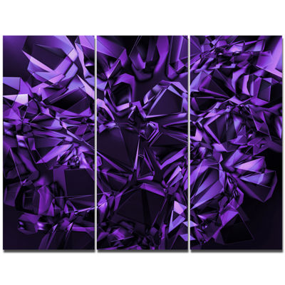 Designart Purple Crystal Texture Design Abstract Canvas Art Print - 3 Panels