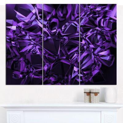 Designart Purple Crystal Texture Design Abstract Canvas Art Print - 3 Panels