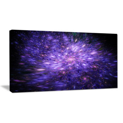Designart Purple Fireworks On Black Abstract Art On Canvas