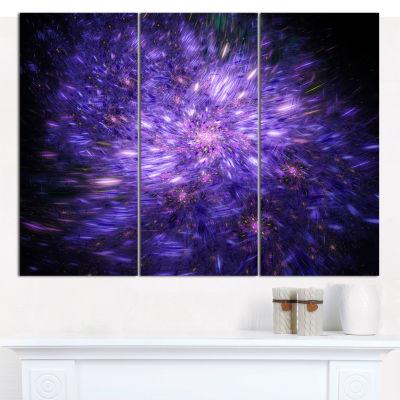 Designart Purple Fireworks On Black Abstract Art On Canvas - 3 Panels
