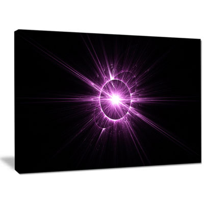 Designart Purple Flash Of Bright Star Floral Canvas Art Print