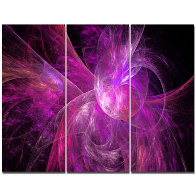 Designart Purple Fractal Abstract Illustration Abstract Canvas Art Print - 3 Panels