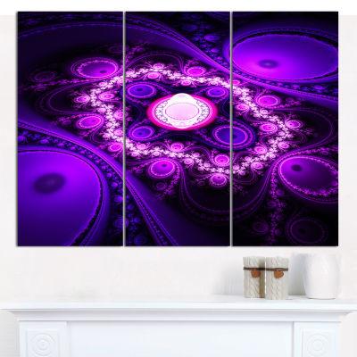 Designart Purple Fractal Circles And Waves Abstract Canvas Art Print - 3 Panels