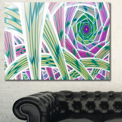 Designart Purple Fractal Endless Tunnel Abstract Canvas Art Print