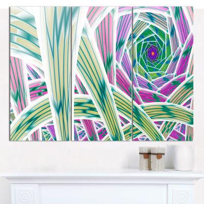 Designart Purple Fractal Endless Tunnel Abstract Canvas Art Print - 3 Panels