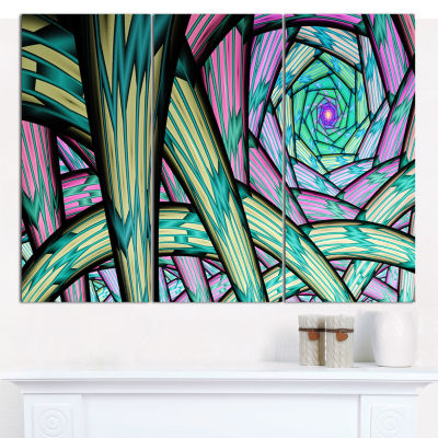 Designart Purple Fractal Endless Tunnel Abstract Canvas Artwork - 3 Panels