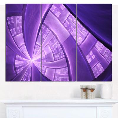 Designart Purple Fractal Exotic Plant Stems Abstract Canvas Art Print - 3 Panels