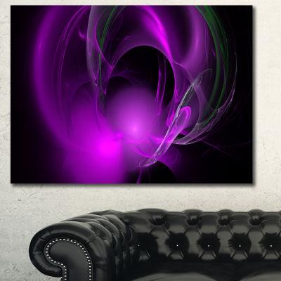 Designart Purple Fractal Galactic Nebula AbstractWall Art Canvas