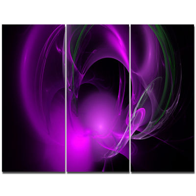 Designart Purple Fractal Galactic Nebula AbstractWall Art Canvas - 3 Panels