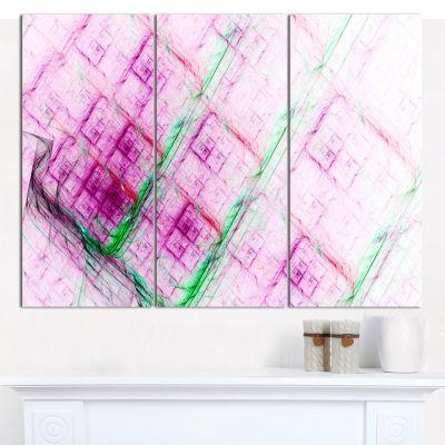 Designart Purple Fractal Grill Pattern Abstract Art On Canvas - 3 Panels