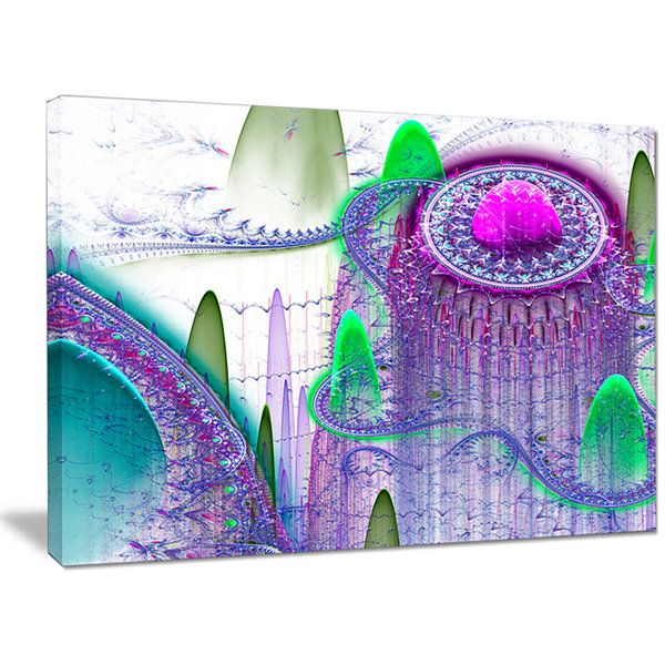 Designart Purple Fractal Infinite World Abstract Art On Canvas