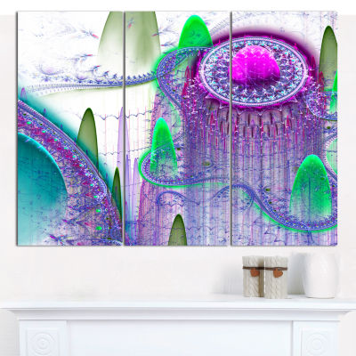 Designart Purple Fractal Infinite World Abstract Art On Canvas - 3 Panels