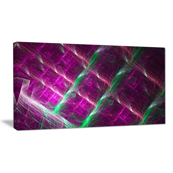 Designart Purple Fractal Metal Grill Abstract WallArt Canvas