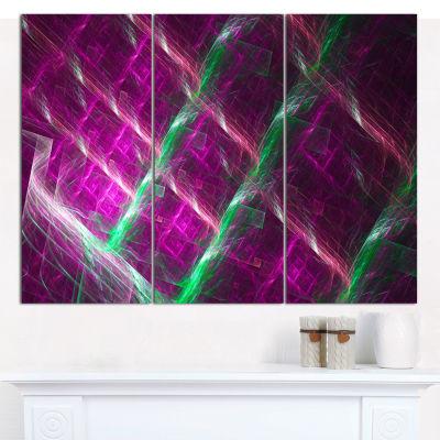 Designart Purple Fractal Metal Grill Abstract WallArt Canvas - 3 Panels