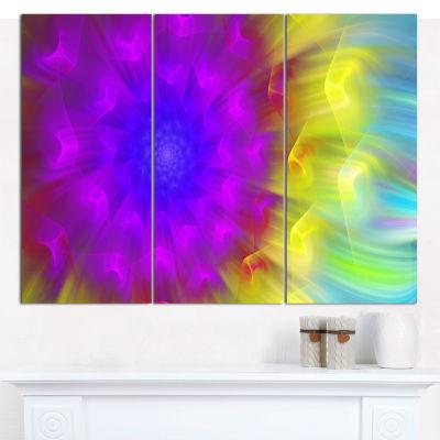 Designart Purple Fractal Petals Dandelion Floral Canvas Art Print - 3 Panels