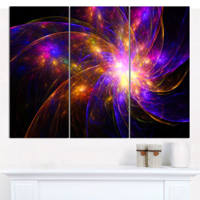 Designart Purple Fractal Star Pattern Abstract Canvas Art Print - 3 Panels