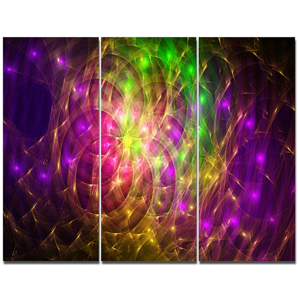 Designart Purple Green Symphony Of Colors AbstractWall Art Canvas - 3 Panels