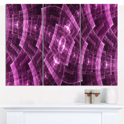 Designart Purple Metal Protective Grids Abstract Wall Art Canvas - 3 Panels