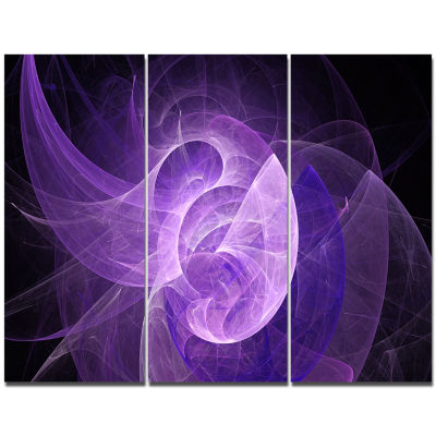 Designart Purple Mystic Psychedelic Design Abstract Art On Canvas - 3 Panels