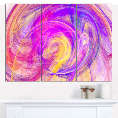 Designart Purple Mystic Psychedelic Texture Abstract Art On Canvas - 3 Panels