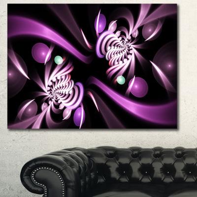 Designart Purple On Black 3D Surreal Art Floral Canvas Art Print