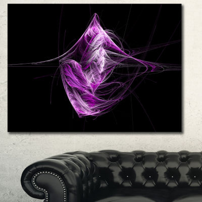 Designart Purple On Black Fractal Illustration Abstract Canvas Art Print