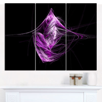 Designart Purple On Black Fractal Illustration Abstract Canvas Art Print - 3 Panels