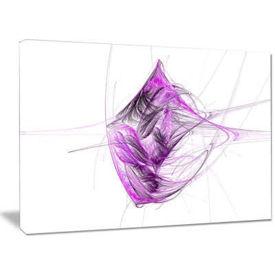 Designart Purple On White Fractal Illustration Abstract Canvas Art Print