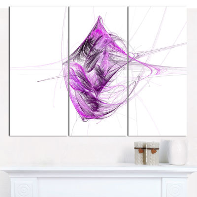 Designart Purple On White Fractal Illustration Abstract Canvas Art Print - 3 Panels