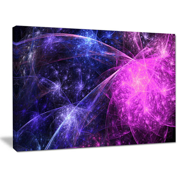 Designart Purple Pink Colorful Fireworks AbstractArt On Canvas
