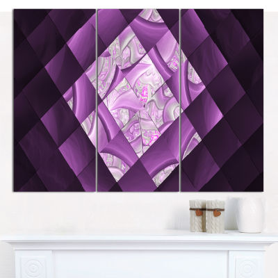 Designart Purple Pixel Field Of Squares Abstract Wall Art Canvas - 3 Panels