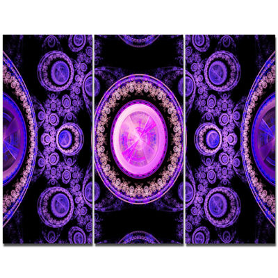 Designart Purple Psychedelic Relaxing Art AbstractCanvas Art Print - 3 Panels