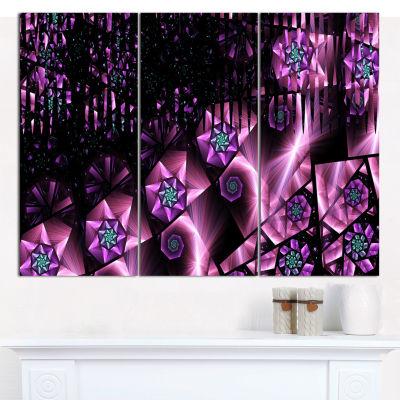 Designart Purple Radiance Of Starry Sky Abstract Wall Art Canvas - 3 Panels