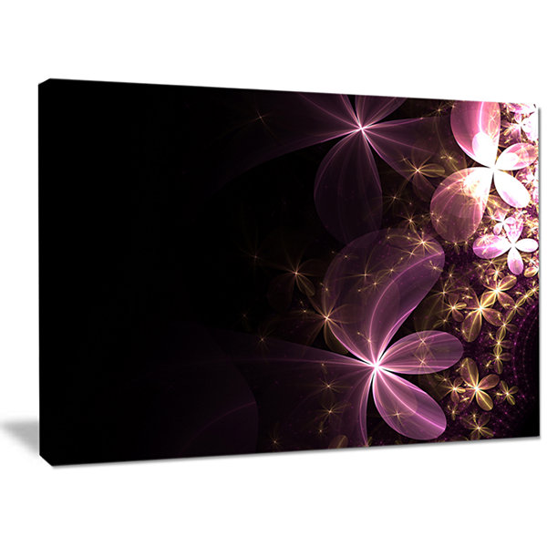 Designart Purple Shiny Fractal Flowers Abstract Wall Art Canvas