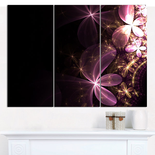 Designart Purple Shiny Fractal Flowers Abstract Wall Art Canvas - 3 Panels