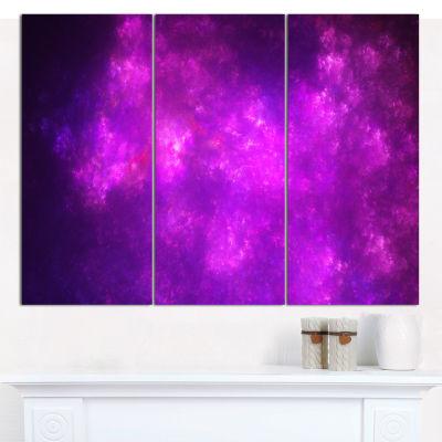 Designart Purple Starry Fractal Sky Abstract Canvas Art Print - 3 Panels