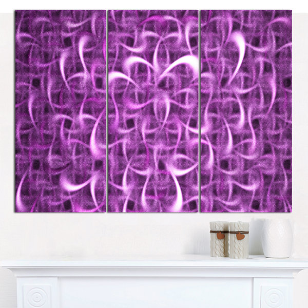 Designart Purple Watercolor Fractal Pattern Abstract Art On Canvas - 3 Panels