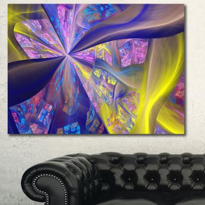 Designart Purple Yellow Fractal Curves Abstract Canvas Art Print